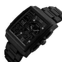 Fashion Men's Date Military Quartz Square Digital Waterproof Analog Sport Watch