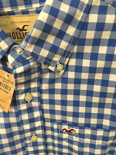 HOLLISTER by Abercrombie mens Blue Gingham plaid M NWT button-down was $49.50