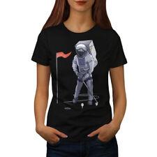 Wellcoda Space Golf Moon Womens T-shirt, Astronaut Casual Design Printed Tee