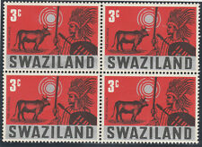 Swaziland 1968 Treditional Customs 4 x 3c Stamp SG 132 (2 x MLH, 2 X MNH)
