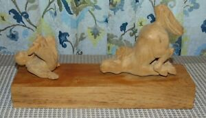 WESTERN THEME Carved Wood Sculpture MAN THROWN FROM A HORSE Artist Signed