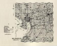 1914 Map of Hillsborough County Florida Tampa