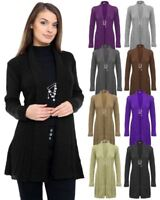 Ladies Women Knitted Boyfriend Brooched Waterfall Open Front Cardigan Jumper Top
