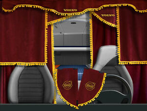 Volvo VNL VNM Curtains Full Set Red with yellow pom poms 7 pieces