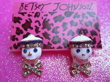 Betsey Johnson White Sailor Stud Earrings