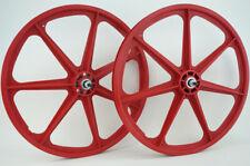 "Skyway BMX 24"" Tuff Wheels RED cruiser NEW wheelset sealed bearings 3/8"" axles"