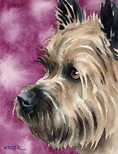 CAIRN TERRIER Watercolor DOG 8 x 10 Art Print Signed by Artist DJR