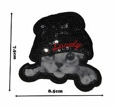 Cute Kitten Sequins Iron on Embroidered Patches Patch Badge Badges Logo #390