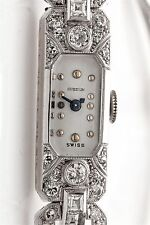 Vintage French Cut Diamond 1930 GUBELIN 18k White Gold Platinum Ladies Watch WTY