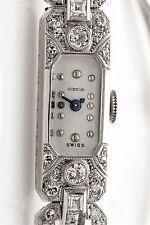 Vintage French Cut Diamond 1930 GUBELIN 18k White Gold Platinum Ladies Watch WTY