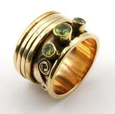 GREEN PERIDOT STONE GOLD BRONZE COPPER 3 BAND SPINNER RING JEWELRY SIZE 8