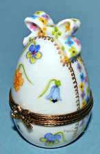 NEW! Limoges Porcelain French FLORAL EGG w/ BOW Trinket Box CHAMART 22K Easter