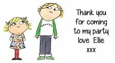 Charlie and Lola Party Bag Stickers Labels  Favours Thank You Personalised