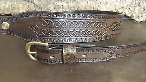 Hand made leather Cobra style rifle sling with Celtic panels.Choose your colour