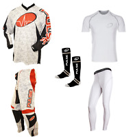 PULSE BEAT RED MOTOCROSS MX ENDURO ATV BMX MTB KIT + BASE LAYERS & SOCKS