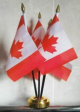 CANADA TABLE FLAG SET 5 flags plus GOLDEN BASE CANADIAN