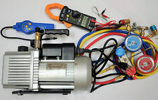HVAC Tool Kit:2-Stage Deep Vacuum Pump VPD6+Clamp Meter+Leak Detector+Manifold G