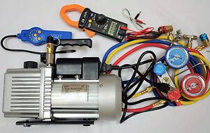 Lot:HVAC Tool Kit Set:Deep Vacuum Pump+Clamp Meter+Leak Detector+Manifold Gauge