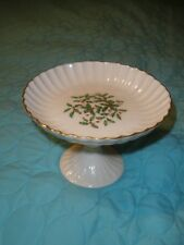 Old Vintage Lenox Holiday Presidential Compote Footed Ribbed Holly Berries Gold