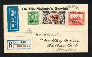 New Zealand 1938 Reg Airmail Cover Auckland to Hong Kong with O4 officials