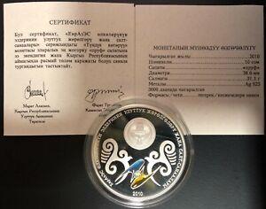 Kyrgyzstan Silver Coin 10 Som 2010 EURASEC+Certificate