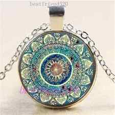 Mandala Flower Photo Cabochon Glass Tibet Silver Chain Pendant Necklace