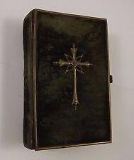 ANTIQUE 1877 RELIGIOUS BOOK PILGRIMS GERMAN LATIN BRASS CLASPS METAL LOCK