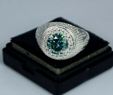 4.13 Ct Blue Diamond  Certified Solitaire With Accents Ring Men's Jewelry