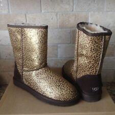 UGG Australia Classic Short Metallic Leopard Calf Hair Boots Size US 8 Womens