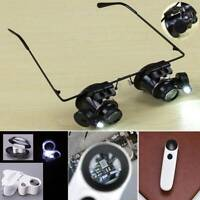60/30/20X Magnifying Eye Glass Watch Repair Magnifier Jeweler Loupe W/LED Lights