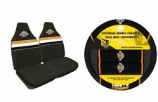 SET OF 2 WEST TIGERS NRL FRONT CAR SEAT COVERS + STEERING WHEEL COVER