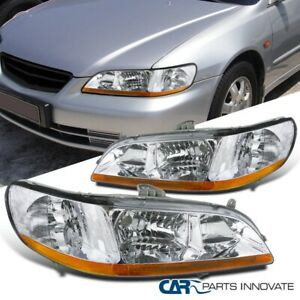 For 98-02 Honda Accord 2/4 Dr Clear Lens Headlights Head Lights Lamps Left+Right