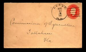 1911 Largo Florida Illegal Use of Foreign Stationery Cover - L30306