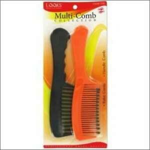 Multi-Comb Shampoo Detangling Styling Rake Comb and Wide Tooth Combo