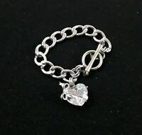 Juicy Couture Large Heart Rhinestone Silver Tone Metallic Charm Chain Bracelet
