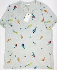 Lucky Brand NWT Women's Gray Short Sleeve Top W/Multicolor Floral Embriodery-Med