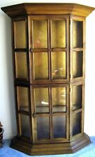 "Vintage 69"" Tall Wood Glass Front Lighted China Cabinet Curio Doll Cabinet"