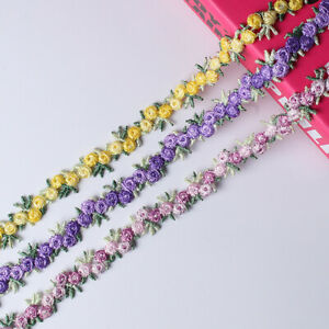 2 Yards Floral embroidery lace border ribbon DIY Wedding dress sewing ornament