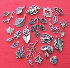 Leaf Deluxe Charm Collection 25 Silver Tone Charms FREE Shipping E29