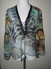 PRETTY MC MAROC for EMMA CAINE MULTIPRINT POLYESTER EMBROIDERED BOHO TOP TUNIC S
