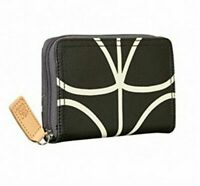 Orla Kiely Liquorice Giant Linear Stem Medium Zip Wallet Brand New RRP £70