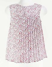 Elodie Sz S Red White Blue Polyester Sleeveless Pleated Back Detail Top E010