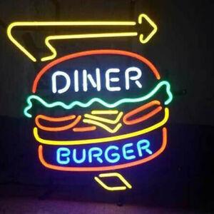 "19""x15""Diner Burger Neon Sign Light Restaurant Shop Open Wall Decor Advertising"