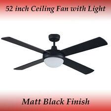 Fias Genesis 52 inch (1300mm) Matt Black Ceiling Fan with Light