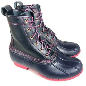 Rare LL BEAN BOOTS Women's 8M Duck Boots Limited Edition Navy Blue & Pink