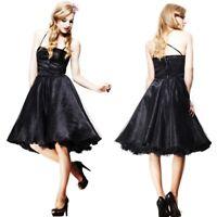 Black Glitter Prom Dress Roxanne XL Hellbunny UK 16 Layered Evening