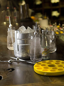 SCHWEPPES STAINLESS STEEL ICE CUBE Bucket TONGS Cooler BOX SHOT glass WINE BAR