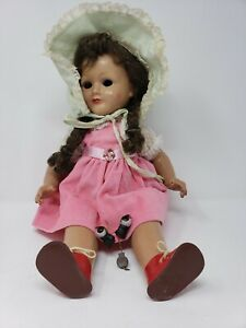 "Antique 17"" 1940's E Martha Maar MMM Doll 807/48 Made Germany Wood Composition"