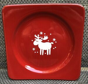 Waechtersbach Red White Reindeer Square Platter Christmas 10 3/8 inches