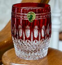 WATERFORD CLARENDON DOF ROCKS GLASS, RUBY RED CASED CRYSTAL